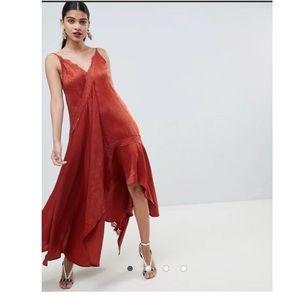 ASOS Satin midaxi slip dress with lace trim